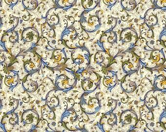 Blue and Green Florentine Scrolls Italian Print Paper ~ Carta Fiorentina Italy  F012
