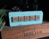HELLO - reclaimed mint painted wood with Scrabble word sign cottage decor