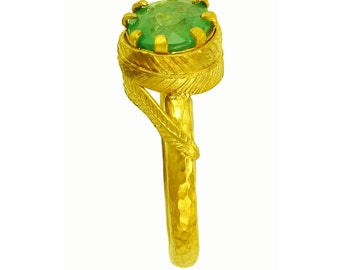 22k gold Emerald Ring using 100 percent recycled gold
