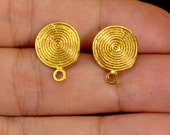 18k Solid Yellow Gold Swirl Ear Post Findings Pair