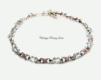 Sterling Silver, Aquamarine Gemstone Bracelet, 925