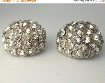 Pr Vintage Rhinestone Dome Brooch Pins