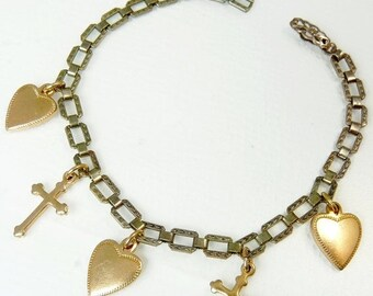Vintage Art Deco Heart & Cross Charm Bracelet
