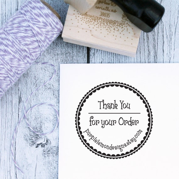Business Stamp - Frills Thank You, Etsy Stamp, Business Stamp, Branding Stamp, Etsy Shop, Rubber Stamp, Self Inking, Wooden Stamp