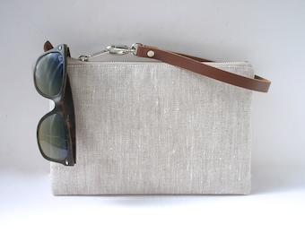 Linen Clutch, Purse, Wristlet, Small Bag, Casual Clutch Purse, Everyday Clutch Bag, Bridesmaid Clutch