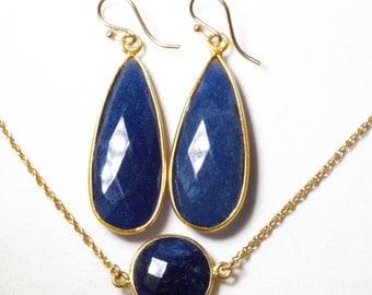 Precious Sapphire 2-pc SET Necklace & Earrings Set Genuine Sapphire Earrings Sapphire Necklace September Birthstone BZ-SET-152-Sapph/g