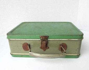 1940's Vintage Jade Green and Smoky Gray Tin Lunch Box, School Lunch Box, Green and Gray Box, Tin Storage Box, Collector Lunch Box