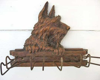 1940 Vintage Scottie Dog Wall Hanger Rack for Scarves, Ties, Dog Leashes, Collars,  Syrocco Wood, Scottie in Profile