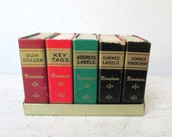 Vintage 1950's Dennison Co Office Supply Matchbook Boxes Set in Little Cardboard Bookcase for Vintage Office Desk, Vintage Office Supply