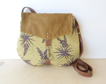 satchel • waxed canvas crossbody bag - floral print • hand printed mustard canvas - purple yucca botanical print - waxed canvas • native