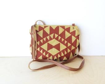 date purse  • crossbody bag - geometric • brick red triangle print - mustard khaki canvas - gifts under 50 - screenprinted • vukani