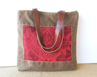 bucket tote • waxed canvas bag • brown waxed canvas - handprinted hot pink and red - geometric floral - brown leather - summer • talavera