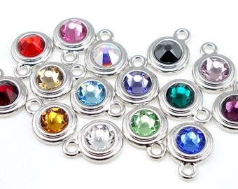 Custom Mix BIRTHSTONE CHARMS TierraCast Stepped Bezel Bright Rhodium Silver Charms Birth Stone Charms - You Pick Assortment