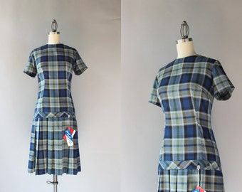 1960s Dress / Vintage 50s 60s Plaid Pleated Day Dress / 1960s Dropwaist Pleated Deadstock Dress