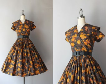 50s Dress / Vintage 1950s Dark Floral Dress / 50s Faux Wrap Shawl Collar Pleated Cotton Day Dress
