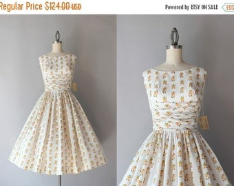 STOREWIDE SALE 1950s Party Dress / Vintage 50s Dress / Fifties White Floral Sundress