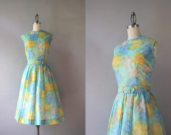 Vintage Dress / 1960s Sheer Floral Dress / 60s Golden Floral Pleated Day Dress