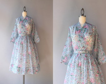 1950s Dress / Vintage 50s Sheer Floral Dress / 50s Faux Wrap Carnation Dress