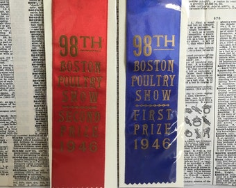 Pair of vintage Poultry prize ribbons Boston 1946