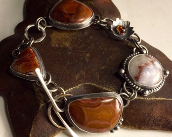 Sterling Silver and Stone Cabochon Link Bracelet  - Sterling Silver Linked Bracelet - Silver Bracelet