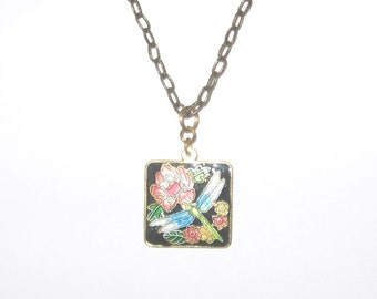 Beautiful Multi-Color Cloisonne Dragonfly Square Pendant Brass Chain Necklace