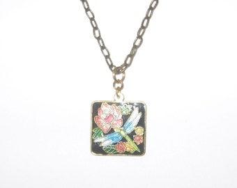 Dragonfly Cloisonne Multi-Color Square Pendant Necklace