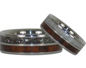 Black and White Pearl and Wood Titanium Rings