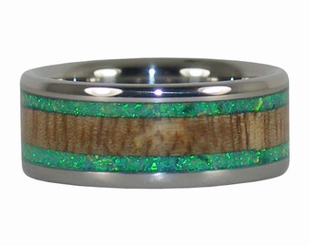 Green Opal Titanium Ring with Your Choice of Wood