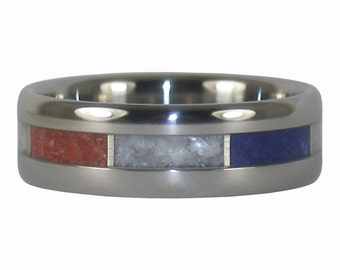 Red White and Blue Stone Ring for the 4th of July