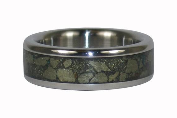 Pyrite or Fools Gold Inlay Titanium Ring Band