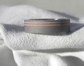 Wedding Band, Titanium Copper Ring, Offset Pinstripes, Sandblasted