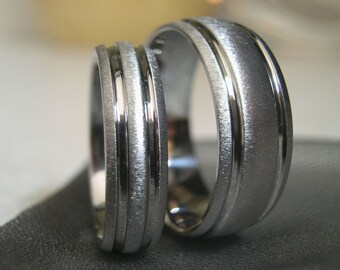 Titanium Ring Set, Wedding Bands, Unique Style AX32