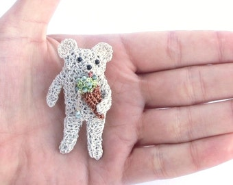 Bear brooch - bear eating ice cream, animal jewelry, bear brooch, food jewelry, ice cream brooch, cute jewelry, gift for animal lover