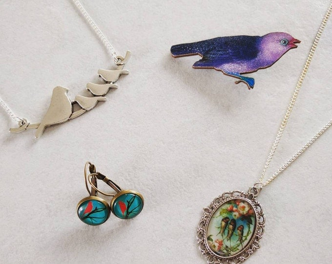 Bird gift set, bird necklace, bird brooch, bird earrings, gift box