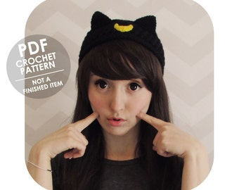 INSTANT DOWNLOAD - Kawaii luna artemis sailor moon cat headband - ear warmer - PDF crochet pattern