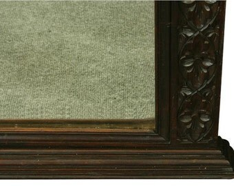 Antique French Gothic Carved Oak Mantel Mirror Frame Large 1880 Free Shipping