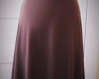 Jersey Knit Skirt - Brown - Size Medium