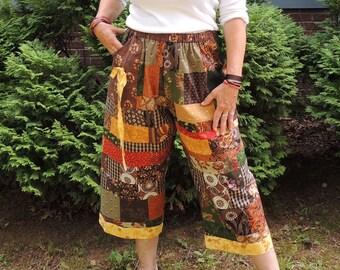 Patchwork Pocket Pants, Gaucho Pants, Palazzo pant