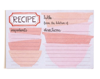 Pink Mixing Bowls Recipe Cards Set of 15 // 1canoe2 // hand illustrated