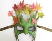 Tree Leather Mask with Fabric Leaves greenman greenwoman forest Ent Groot Treebeard