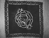 death bloom rose  // embroidery on handkerchief