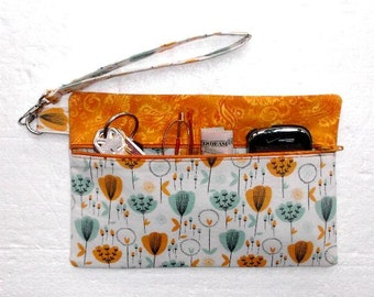 Gold and Sea Green Wristlet, White Floral Clutch, Floral Womens Wallet, Phone and Camera Bag, Makeup and Gadget Holder, Front Zippered Purse