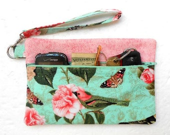 Turquoise Wristlet Clutch Bag, Bird Print Cell Phone Wallet, Small Zipper Pouch,  Front Zip Small Purse, Camera or Gadget Bag, Makeup Bag