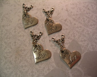 6 Heart Joy Word Charms with Connector Jewelry Supplies