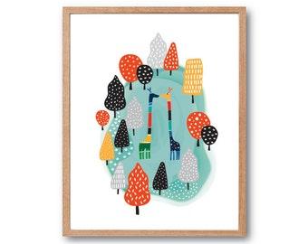 Giraffes Dancing in the Forest, Giraffe wall art, Safari Wall decor, Safari Nursery, Animal Illustration, Nursery decor, home decor