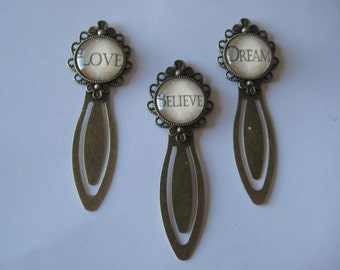 Love OR Believe OR Dream  Antiqued Bronze Clip Style Bookmark