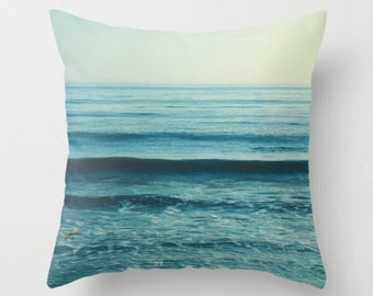 blue throw pillow, beach pillow cover, ocean waves print, beach home decor, nautical, girls room, 16x16 pillow case, gift for her, yoga