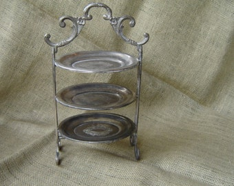 Vintage Tiered Silver Plate Dessert Stand Trinket Stand Jewelry Display Stand Petite Stand