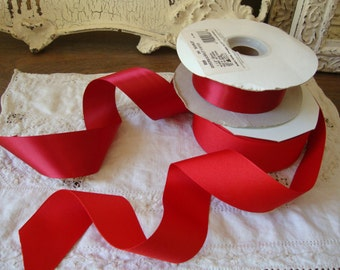 "Red satin ribbon 3 yards 1"" 1/2 wide grosgrain ribbon destash crafts supplies embellishments DIY"