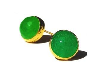 Bright Green Jade Stud Earrings